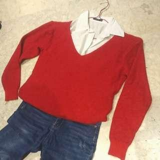 V領紅色毛衣