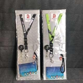Beijing 2008 北京奧運會 吉祥物 福娃 可伸縮 掛頸繩 卡套 電話繩 手機掛飾