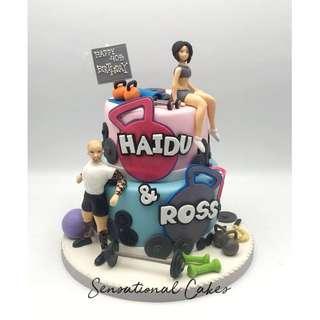 Gym buddies 3d sugar handcrafted figurine customized cake #singaporecake #gym3dcake