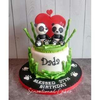 Couple Panda bamboo design theme love 3d customized cake #singaporecake #pandacake