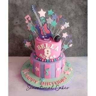 Girlie musical instruments design theme girl birthday 3d cake #singaporecake #musicalcake