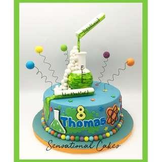 Scientist laboratory experiment theme 3d birthday boy customized cake #singaporecake