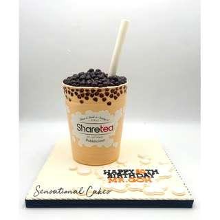 Milk Tea 3d bottle design customized handcrafted 3d cake #singaporecake