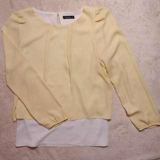Blouse Chiffon Neu'mor Kuning Pastel Layer