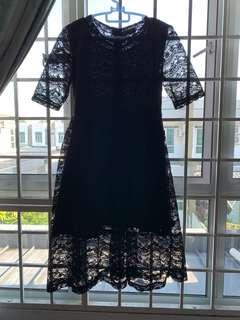 Black Lace Gown Knee Length