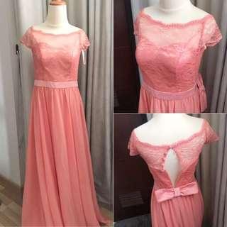 Sabrina Lace Dress Coral