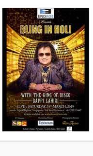 🚚 2x Gold Class Bling in Holi tickets half price Bappi Lahiri concert