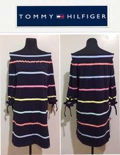 Tommy Hilfiger Off-Shoulder Striped Knit Dress