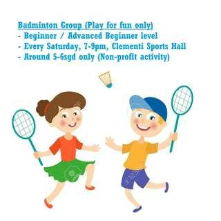 Badminton - saturday play for fun
