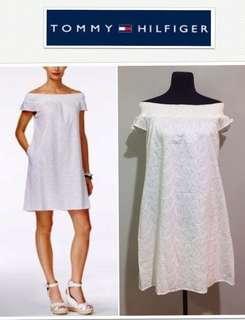 Tommy Hilfiger White Off-Shoulder Paisley Eyelet Dress