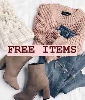 FREE ITEMS GRATIS BARANG Untuk yang bertuliskan FREE