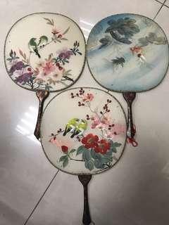 早期 收藏 手繪扇 三支一起賣 便宜