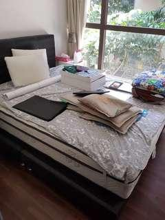 🚚 Used queen size mattress and bed frame