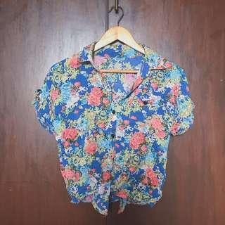 Hawaiian Tropical Floral Buttoned Tie knot front Shirt
