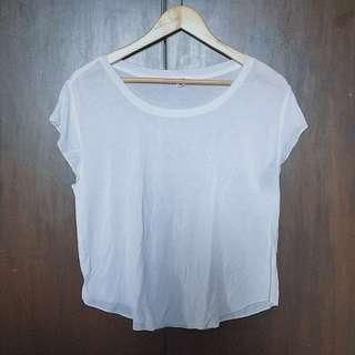 White Slouchy Cropped / Hanging tee shirt