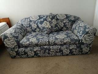 Blue and white pattern couch