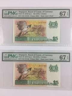 Singapore PMG Banknote, 5 Dollars Bird, PMG 67, Price is for 2 pieces.
