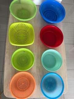 Plastic basin tub and basket