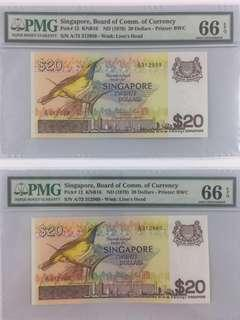 Singapore PMG Banknotes, 20 Dollars Bird, PMG 66, Price is for 2 pieces.