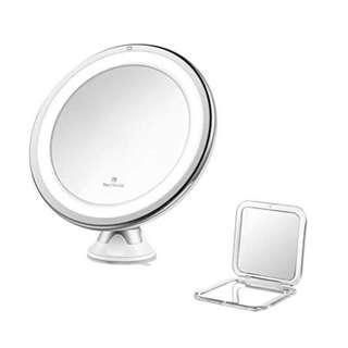 E1406 Jerrybox LED Lighted Makeup Mirror 7× Magnification, Adjustable, Dimmable Cordless, Collapsible, Warm Light Bathroom Mirror with Power Locking Suction Cup, White, BONUS Pocket Mirror