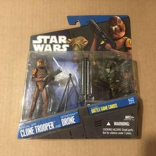 Star Wars Action Figures The Clone Wars 2 Pack Geonosis Special Ops Clone Trooper and Geonoisan Drone