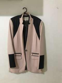 River Island Pale Pink Coat with Leather Trimmings