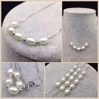 Pearls on 925 silver necklace 淡水珍珠銀鏈