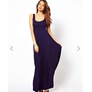 🚚 ASOS Maxi Dress In A-Line Shape - NAVY