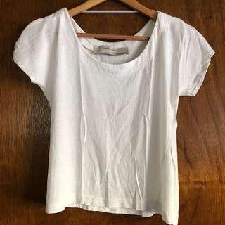Zara cropped white shirt