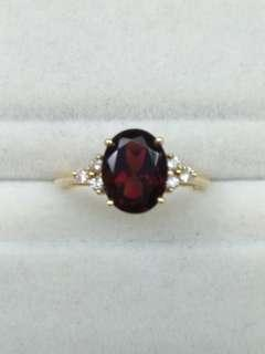 14K Yellow Gold Garnet with Diamonds Ring