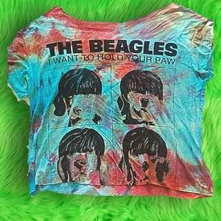 Cute funny the beagles tie dye crop top small