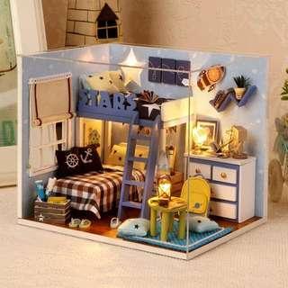 *屋子DIY模型*小小房間連工具包及防塵罩智能櫃包郵