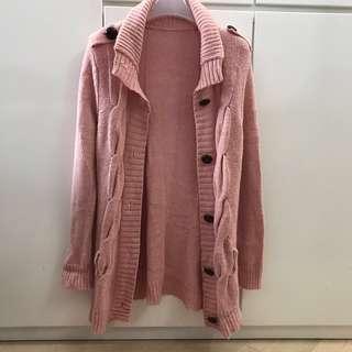 包順豐站 女裝粉紅色線衫中長外套