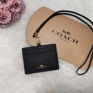 Coach ID Lanyard Card Holder Black 黑色證件套