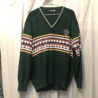 🚚 降價再含運!🎃古著 毛衣 上衣 綠學院毛衣