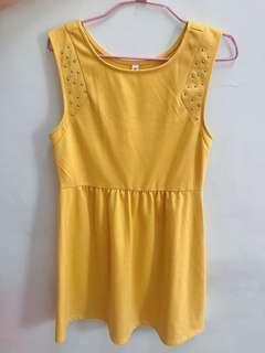 🚚 暖黃無袖厚棉洋裝