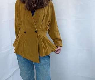 Vintage mustard double breast blazer
