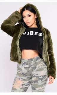 Olive teddy hoodie