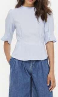 TOPSHOP Puff sleeve tuck powder blue top