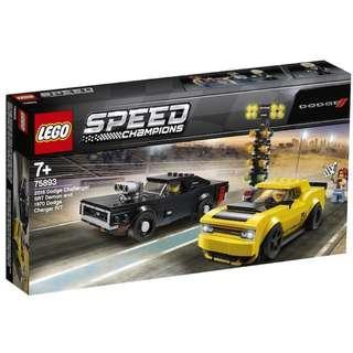 Lego 75893 2018 Dodge Challenger SRT Demon and 1970 Dodge Charger R/T
