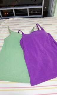 UNIQLO bratop (連bra吊帶背心) (purple/ green)