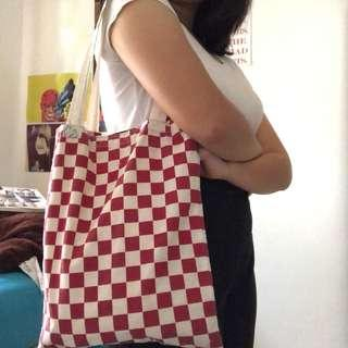 Red Checkered Totebag