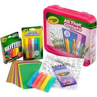 🚚 BRAND NEW Crayola All That Glitters Art Case Art Gift for Kids 5 & Up, Includes Glitter Crayons, Marker, Glue, Chalk, Paper & Stickers in A Convenient Travel Case, Over 50 Pieces