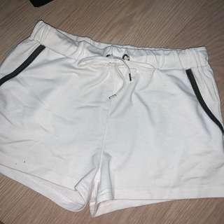 white outline runner shorts