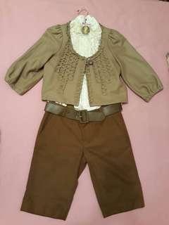 韓式氣質套裝 外套+襯衫+毛料短褲