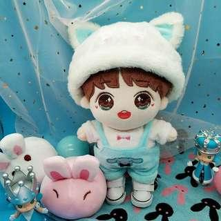 Kpop doll 20cm furry kitty hat