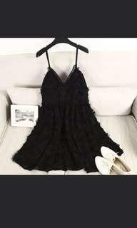 Bare Back Feather Lace Little Black Dress