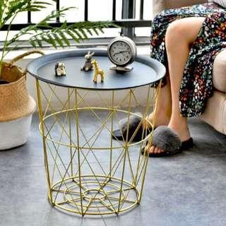 CLEARANCE Gold Side Basket Table