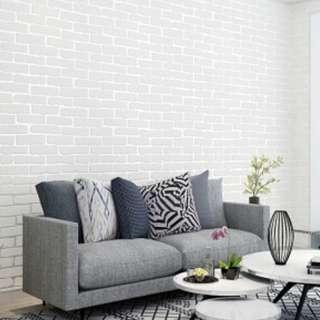 3D White Bricks Wallpaper