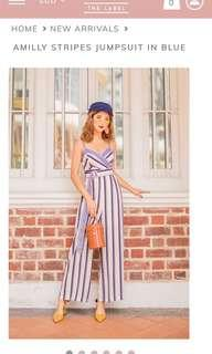 🚚 MGP LABEL AMILLY STRIPS JUMPSUIT IN BLUE
